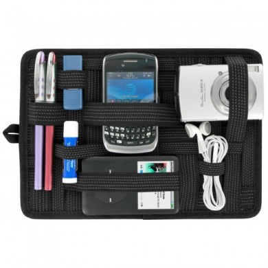 Organizer pocket with elastic to soft transport objects