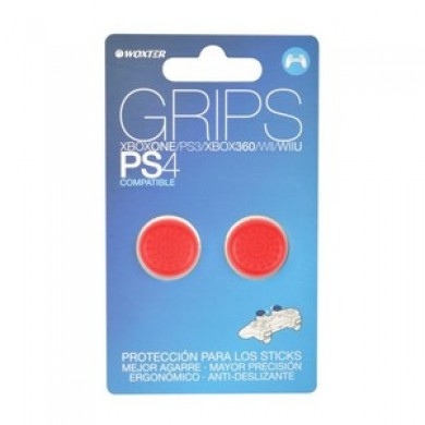 Grips Rojo Protectores Sticks Analógicos Woxter Ps4/PS3/X360 -