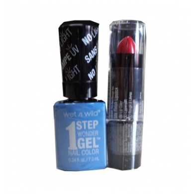 Markwins Wet'n Wild Wonder 1STEP GEL Peri-Winkle DE UN OJO + Silk Finish Pintalabios Breeze